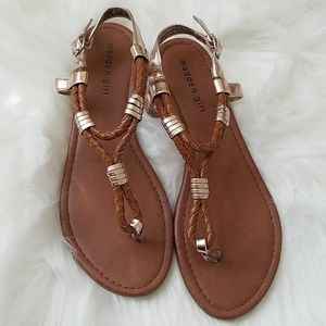 Madden Girl Tan Bronze Ankle Strap Thong Sandals